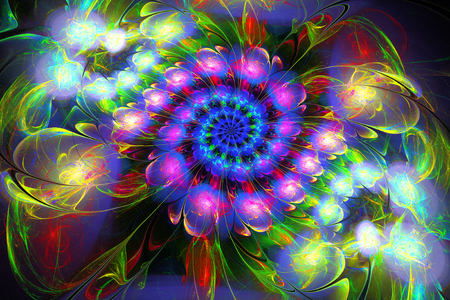 abstract fractal futuristic colourful pattern. 3d render of a fractal. art fantasy pattern. digital art design element. abstract psychedelic background
