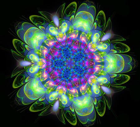 abstract fractal futuristic colourful flower pattern. 3d render illustration of a fractal. art fantasy pattern. digital art design element. abstract psychedelic background. kaleidoscope mandala