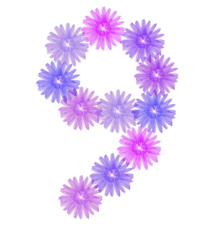 number 9 isolated on white background. 3d number nine of purple flowers, design element