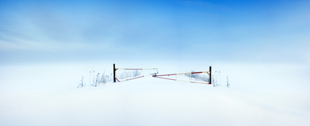 abstract minimalism winter landscape. art scenery wintry view. panorama winter field 版權商用圖片