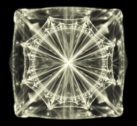 abstract crystal shine on a black background. shiny gemstone diamond 3d, fractal rendering