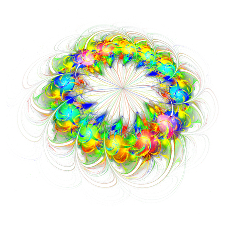 abstract colored flower isolated on white background. 3d fractal colorful flower 版權商用圖片