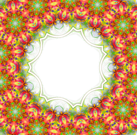 abstract fractal futuristic colorful pattern isolated on white background. fantasy kaleidoscope pattern.