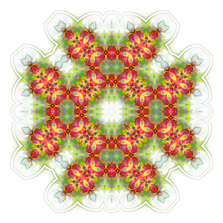 wallpaper with abstract pattern. green red geometric ornament tiles isolated on white background