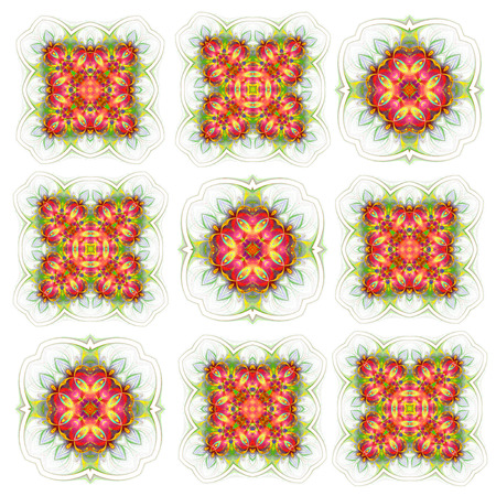 seamless wallpaper with abstract pattern. green red geometric ornament tiles isolated on white background 版權商用圖片 - 117765103