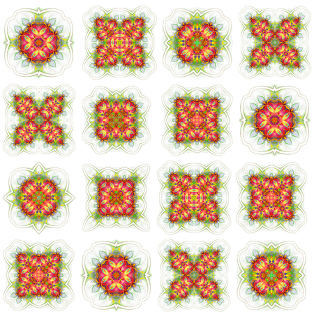 seamless wallpaper with abstract pattern. green red geometric ornament tiles isolated on white background 版權商用圖片 - 117765105