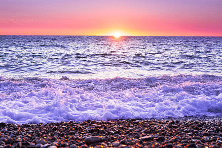 purple landscape with sea and sunset. evening sun over ocean. beautiful scenery with sunrise over sea panoramic view