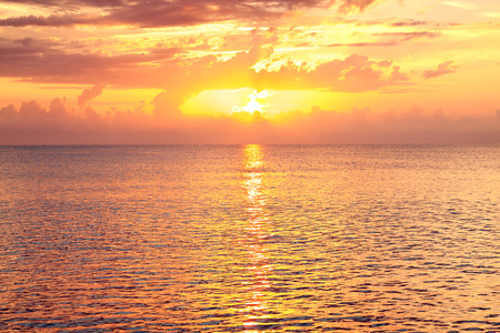 sea landscape with a sunset. evening orange ocean. beautiful scenery with sunrise over sea panoramic view 版權商用圖片 - 117765178