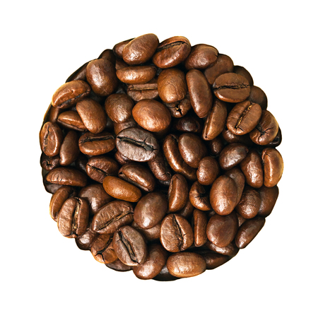 beans coffee in form of circle isolated on a white background. roasting  grains coffee  close up top view