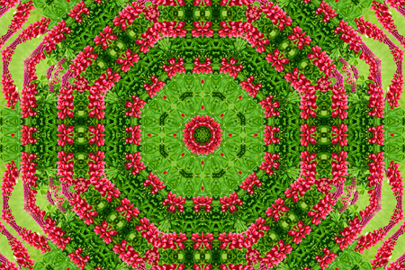 abstract background of flower pattern of a kaleidoscope. red green background fractal mandala. abstract kaleidoscopic arabesque. geometrical ornament floral pattern