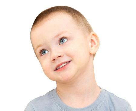 happy little  child smiles isolated on a white background. beautiful small  boy cheerful looking and laughs