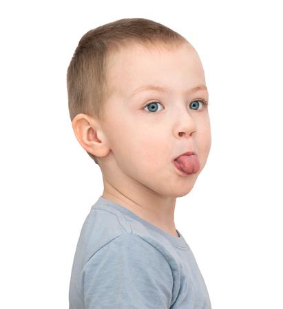 little child boy stick tongue isolated on white background