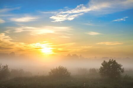 beautiful summer landscape with sunrise and fog. panoramic view of sky and sunset