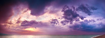 beautiful panorama sea landscape with a sunset. evening purple sky with clouds over ocean. sky with clouds panoramic view Stok Fotoğraf