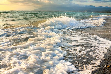 sea landscape with a sunset. evening surf ocean. beautiful scenery with sunrise over sea panoramic view 版權商用圖片