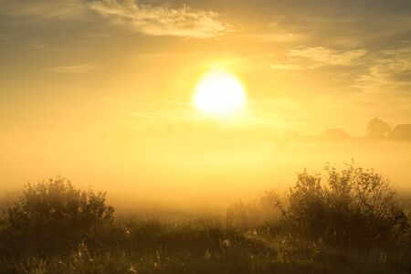 beautiful autumn landscape with sunrise and fog. panoramic view of sky and sunset 版權商用圖片