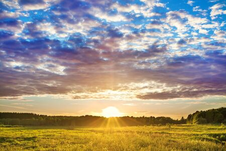 beautiful rural summer landscape with sunset and meadow. amazing scenery with clouds in sky and sun
