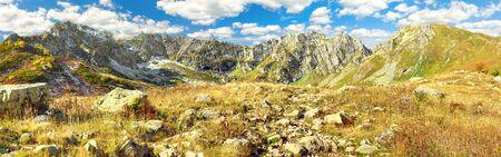 beautiful autumn mountain landscape panorama. panoramic view of mountain peaks 版權商用圖片
