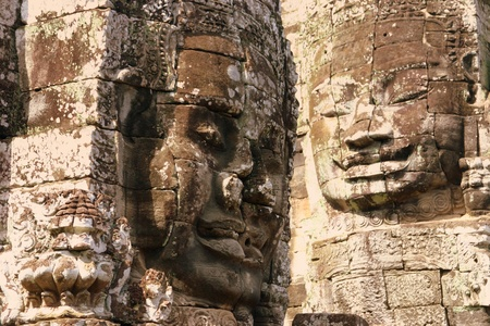 cambodge: Giant face on Bayon temple in Angkor Stock Photo