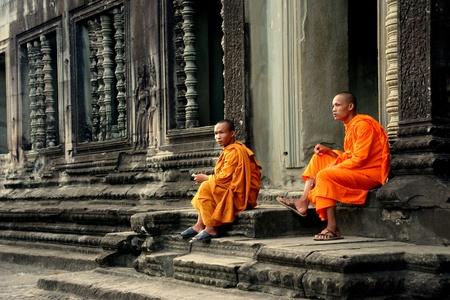 angkor: Buddhist monks in Angkor Wat Editorial