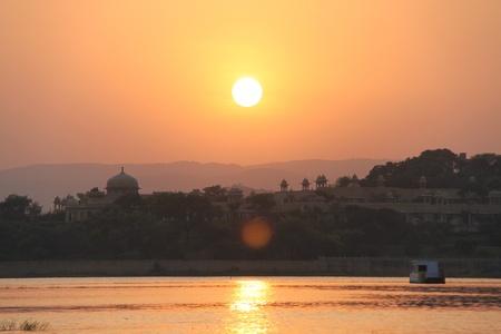rajput: Sunset on the Udaipur lake Stock Photo