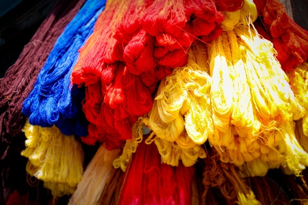tainted: Colored threads in the market in Srinagar