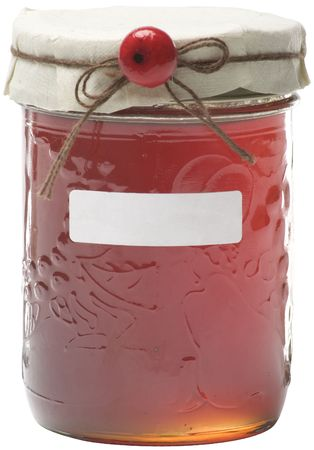 Apple jelly jay with white label and berry decoration, path included