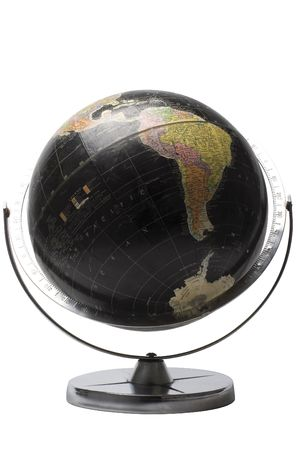 Terrestrial globe in black color showing the african continent