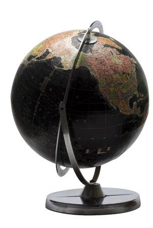 continente americano: Mundo terrenal en color negro que muestra el continente norteamericano
