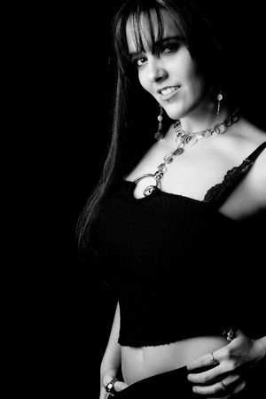 fas: Black and white portrait of a twenty something fashion model