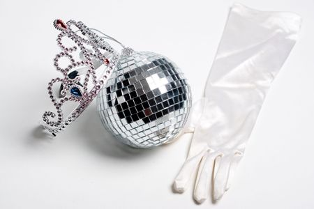 What every prom party should have, disco ball, jeweled tiara and some fancy clothing