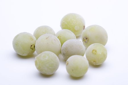 Isolated green grapes with frost deposit