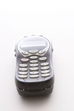 wireles: black cell phone lying on its back viewed from the bottom Stock Photo