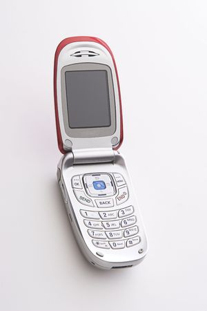 Red and silver cellular phone open with a blank screen Stock Photo - 6368255