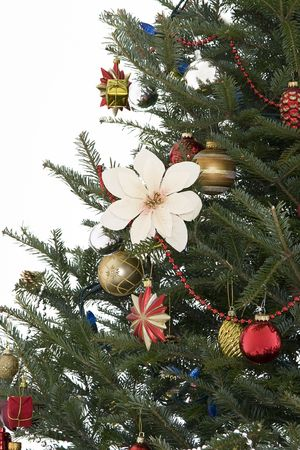 decorated christmas tree in a red, gold and silver palette