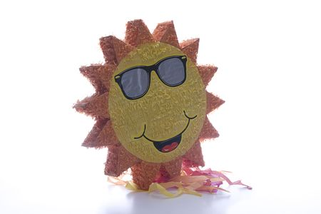pinata: Big Pinata sun wearing sunglasses Stock Photo