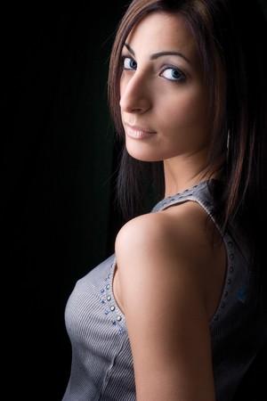 hottie: Twenty something fashion model looking over her shoulder Stock Photo