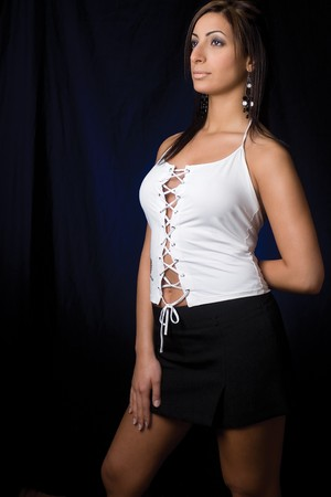 Twenty something fashion model in sexy corporate style