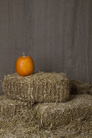 Pumpkin resting on bales of straw photo