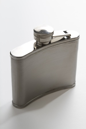 close flask against gray background