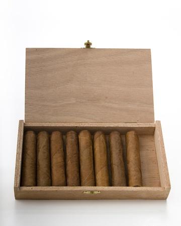 Cuban cigar in a small wood box