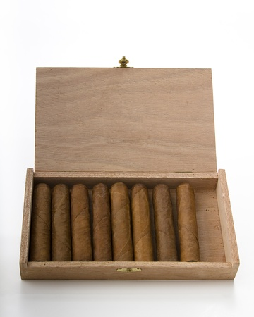 Cuban cigar in a small wood box