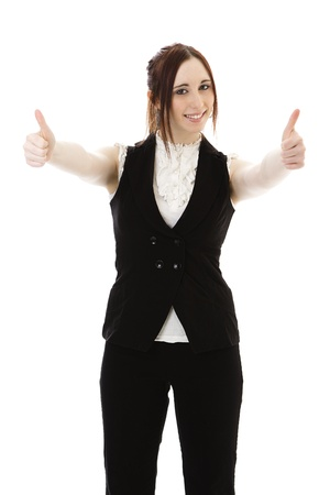 Young woman in business suit with her thumbs up against a white background photo