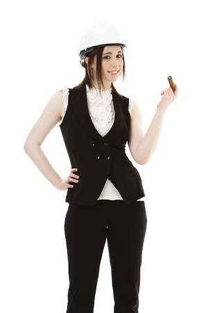 cigar smoking woman: Young business woman wearing a business suit and construction smoking a cigar against a white background