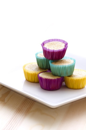 undecorated: undecorated cupcake in multicolored paper cup