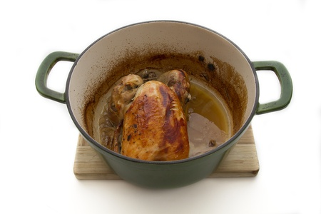 small roasted chicken in a crock-pot