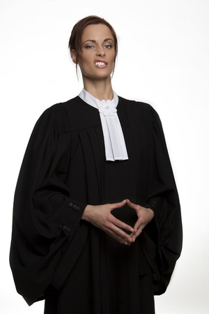 Canadian attorney in full attire making a face photo