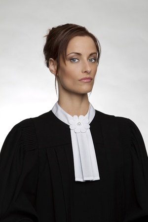 Classic portrait of a woman in canadian lawyer attire photo