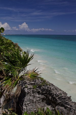 View of the ocean from the Tulum ruins