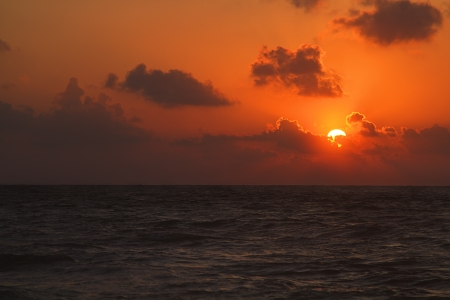 orange sunrise over the atlantic ocean photo